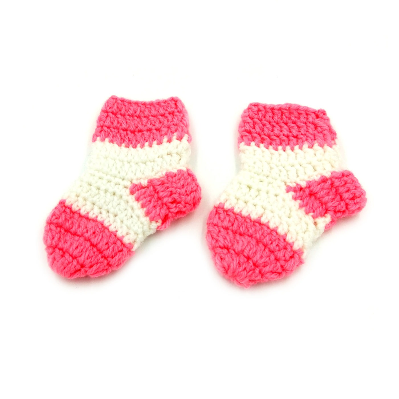 Infant Socks Pink & White • Magic Needles Handmade Caps Incas