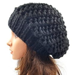 Netted Slouchy Beanie - Black