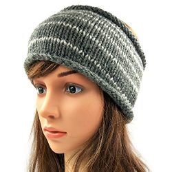Striped Headband - Grey
