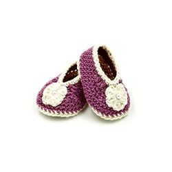 Booties with Flower - Purple & Beige