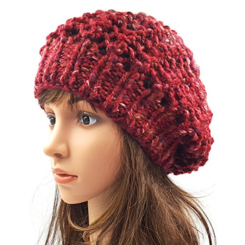 Netted Slouchy Beanie - Maroon