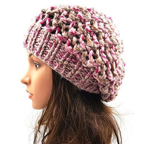 Netted Slouchy Beanie - Pink