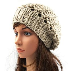 Netted Slouchy Beanie - Beige