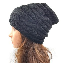 Cable Slouchy Beanie - Black