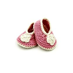 Booties with Flower - Pink & Beige