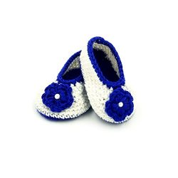 Booties with Flower - White & Blue