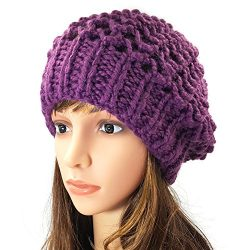 Netted Slouchy Beanie - Purple