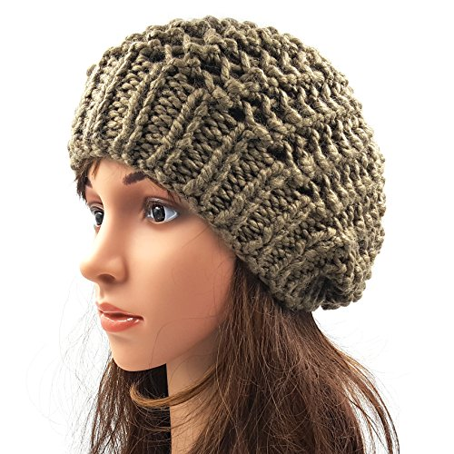 Netted Slouchy Beanie - Brown