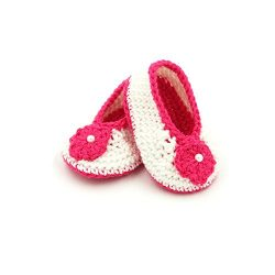 Booties with Flower - White & Pink