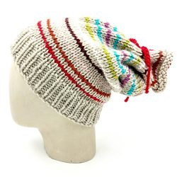 Multiway Drawstring Slouch Beanie - Beige