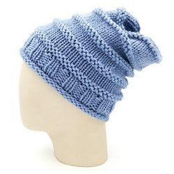 Spiral Slouchy Beanie - Faded Denim