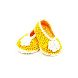 Booties with Flower - Yellow & White