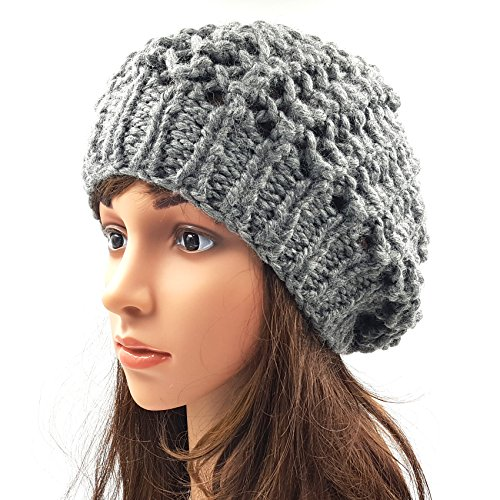 Girls Netted Slouchy Beanie Cap - Grey • Magic Needles ... b98c62ccbb1