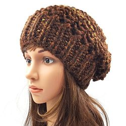 Netted Slouchy Beanie - Dark Brown