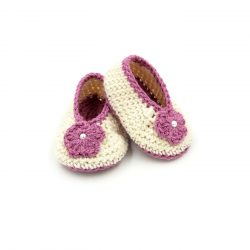 Booties with Flower - Beige & Pink