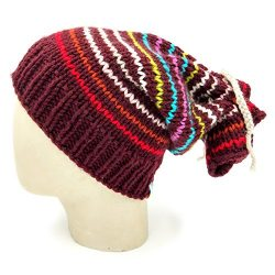Multiway Drawstring Striped Slouch Beanie – Wine
