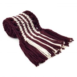 Wine Beige Scarf with Tassels