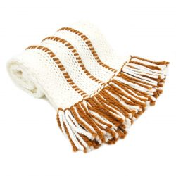 White Brown Scarf with Tassels