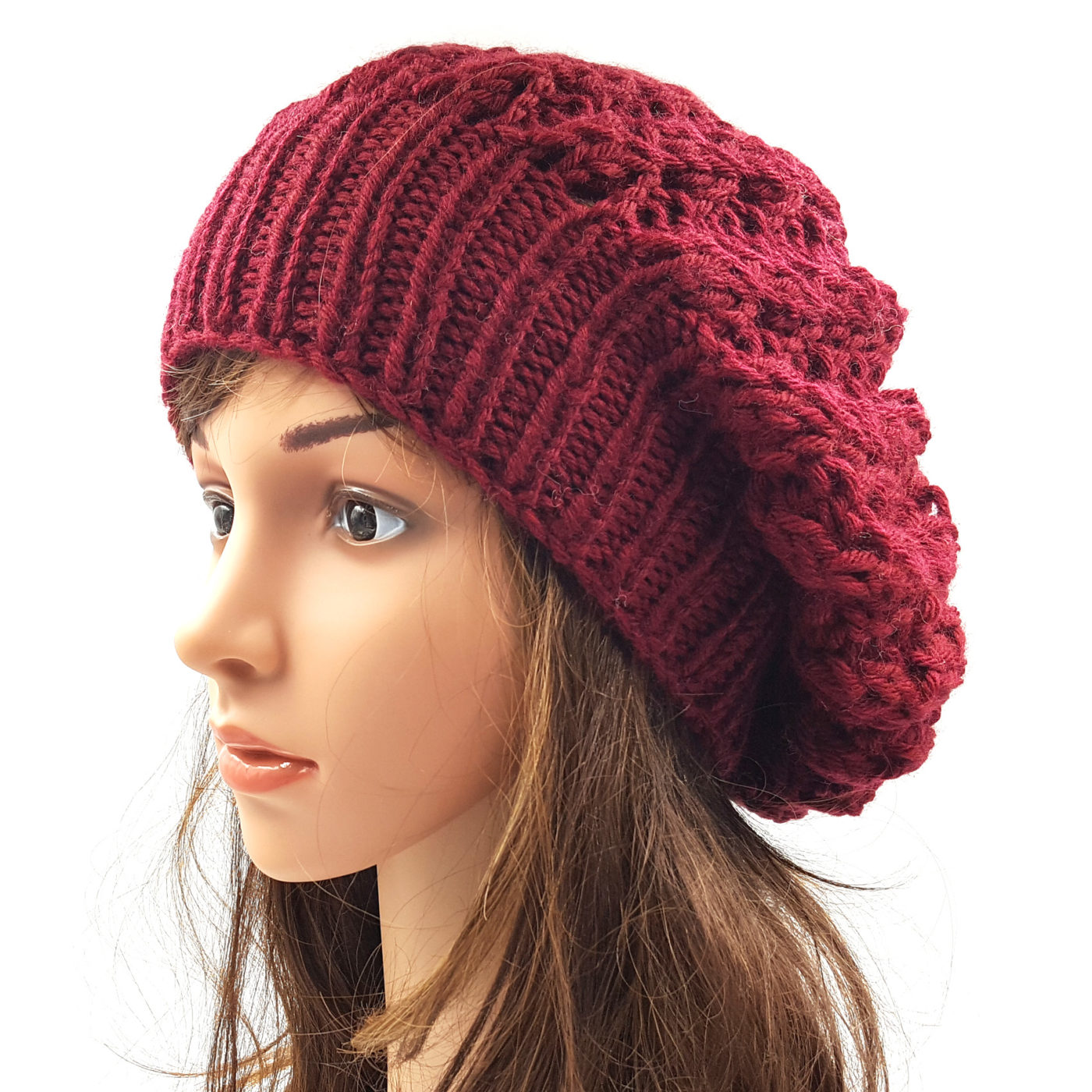 Girls Slouchy Shroom Beanie Cap - Maroon • Magic Needles ... e388e8ab7b5
