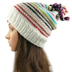 Multiway Drawstring Striped Slouch Beanie – White