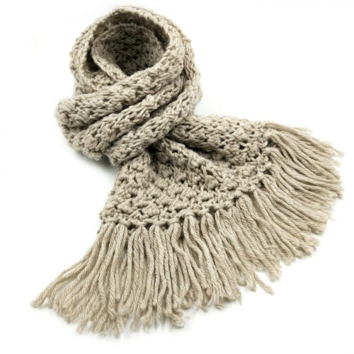 Beige Scarf with Tassels