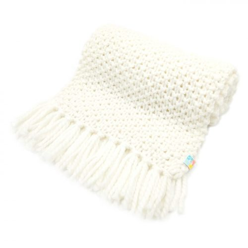 White Scarf with Tassels