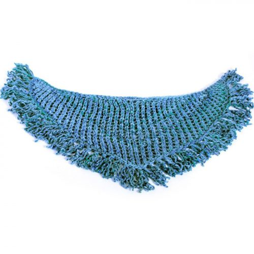 Blue Scarf with Tassels