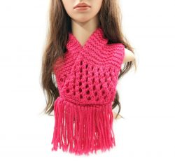 Coral Red Neckwarmer with Tassels