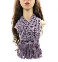 Purple Neckwarmer with Tassels