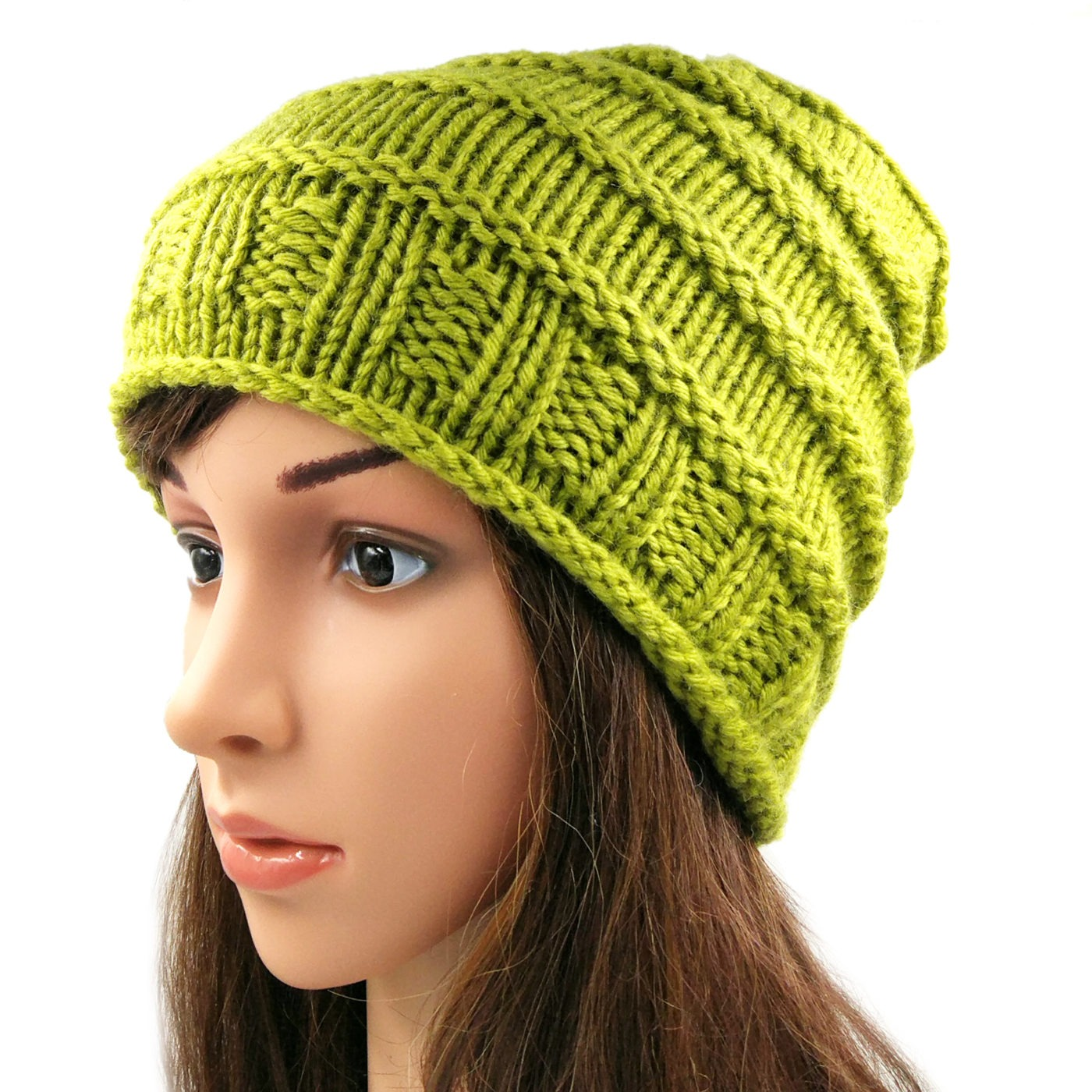 297c30731cb4e Women s Spiral Slouchy Beanie Cap - Olive Green • Magic Needles ...