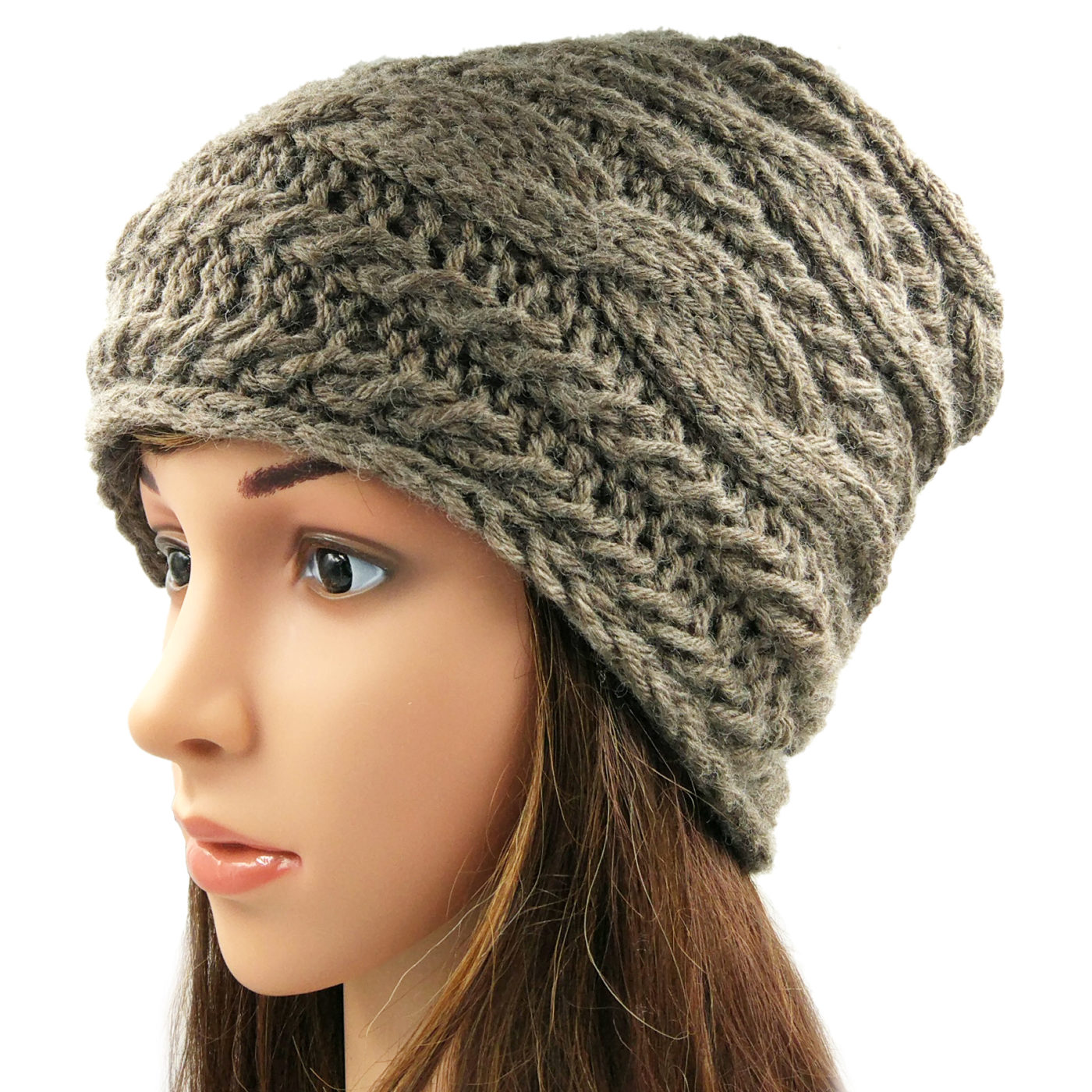 Women s Cable Slouchy Beanie Cap - Brown • Magic Needles ... a1b52db0d11