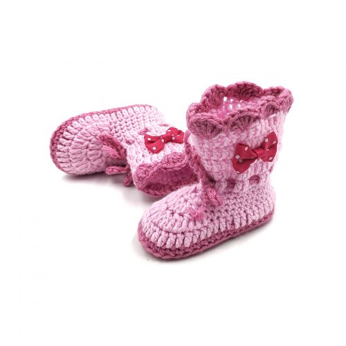 Boots with Lace Tie & Bows – Light Pink