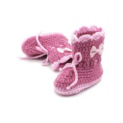 Boots with Lace Tie & Bows – Dark Pink