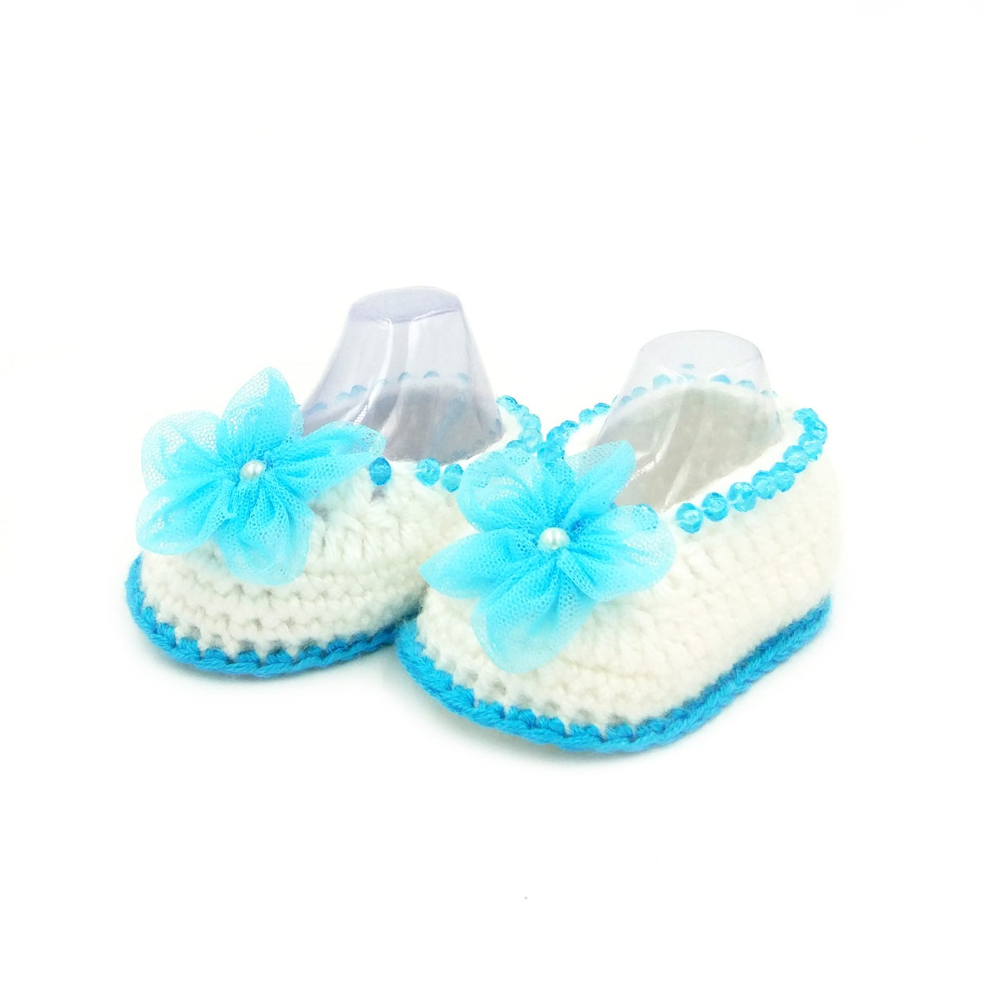 Infant Boots with Pearls Flowers White & Blue • Magic Needles