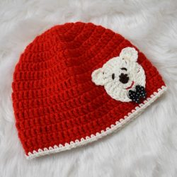 Teddy Bear Applique Cap - Red