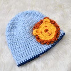 Lion Applique Cap - Blue