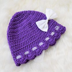 Bonnet with Bows and Ribbons - Purple