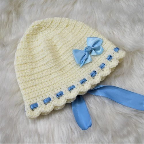 Cap with Bow & Ribbons - White