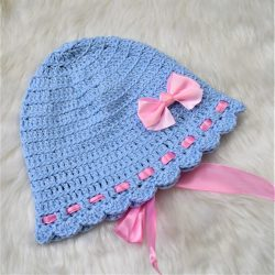 Cap with Bow & Ribbons - Blue
