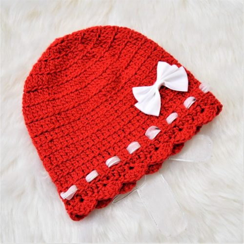 Cap with Bow & Ribbons - Red