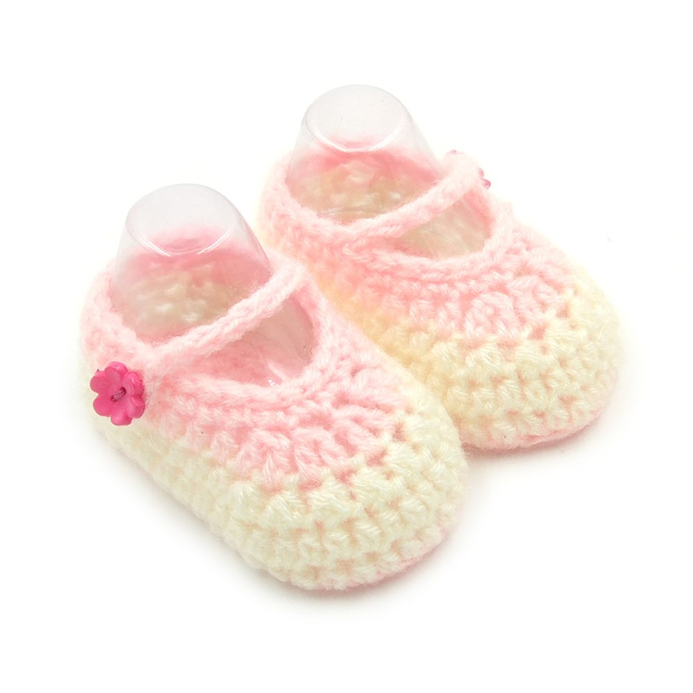ccabb945a05c Mary Janes Baby Booties with Button Closure - White Pink • Magic ...