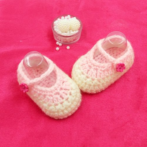 Mary Jane Booties - Cream & Pink