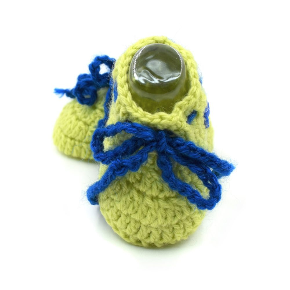 97113f71d3816 Ankle Boots Baby Booties with Lace Tie & Teddy - Green