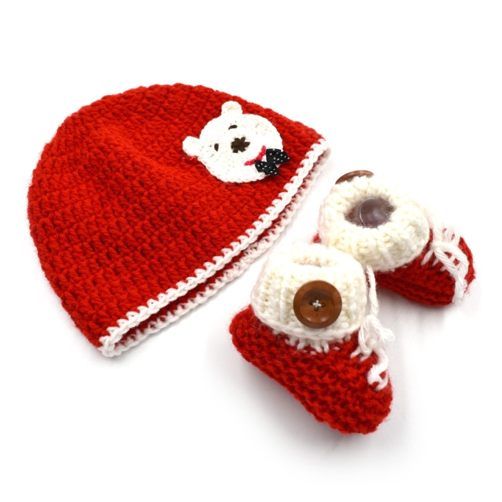 42f97be8795 Baby Cap   Booties Set - Red • Magic Needles ® - Exclusively Handmade