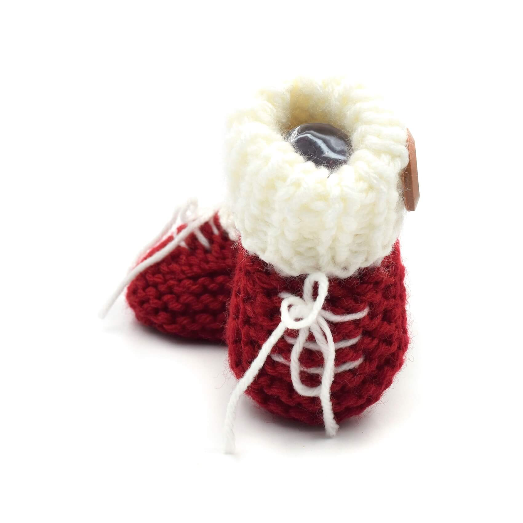 23cc0d7ffa5 Sneakers Baby Booties with Buttons - Red • Magic Needles ...