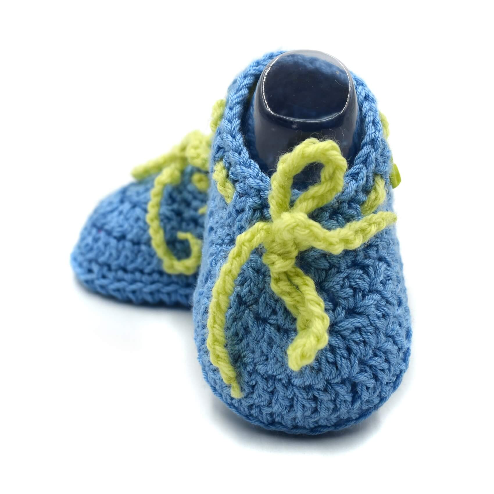 19aee7666d3f4 Ankle Boots Baby Booties with Lace & Buttons - Blue
