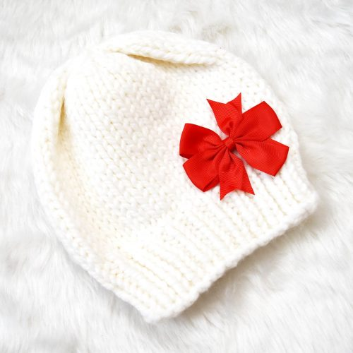 Girls Woolen Cap with Bow - White