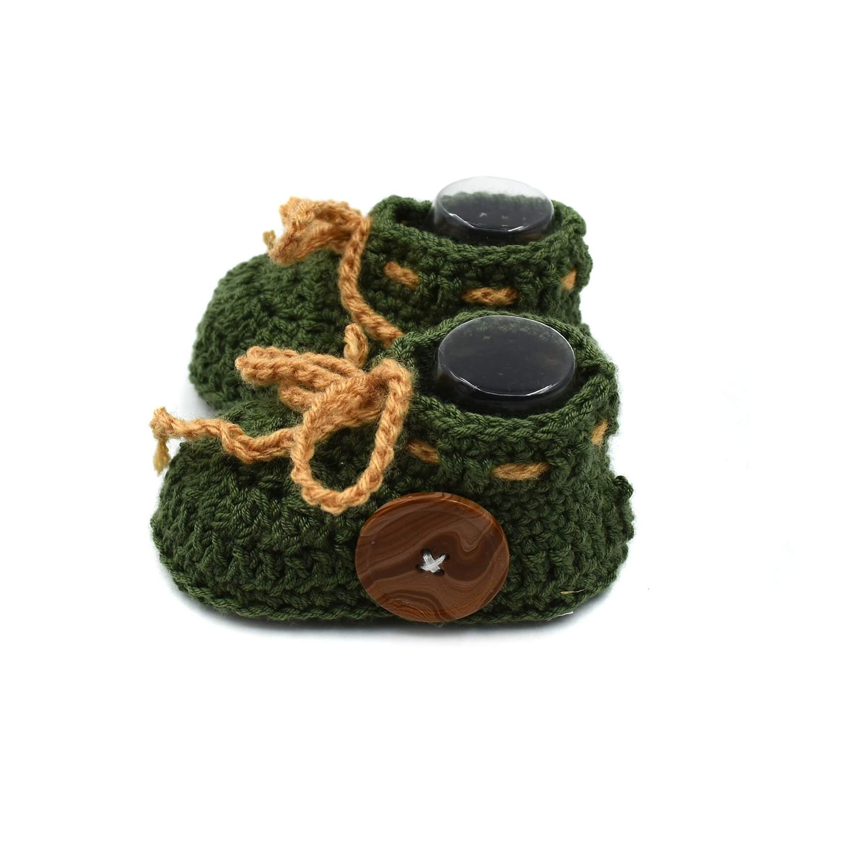 092b0430074df Ankle Baby Boots with Buttons & Lace - Military Green