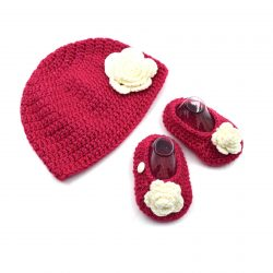 Baby Cap & Booties Set - Pink