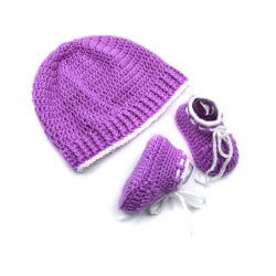 Baby Cap & Booties Set - Lavendar & White